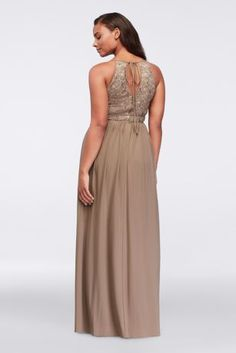 Radiate effortless beauty in this plus size tie back halter dress. The glittering lace keyhole bodice is adorned with sparkling sequins for a subtle pop of sparkle.  By Morgan & Co  Nylon, polyester, spandex  Back zipper; fully lined  Dry clean  Imported