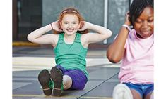Girls doing sit-ups in physical education in elementary school , Kids Moves, Our Kids, Physical Education, Elementary Schools, Lesson Plans, Your Child, Cardio, Physics, Health And Wellness