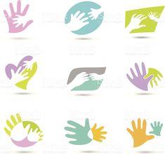 Mains Logo cliparts vectoriels libres de droits