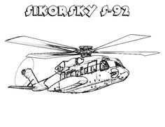 Helicopters Sikorskay Coloring Pages For Kids Printable