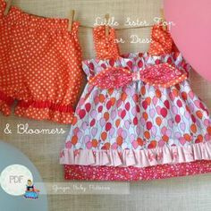 Little Sister Top or Dress and Bloomers   YouCanMakeThis.com
