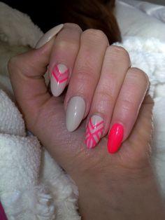 Gel nails, almond shape, Neon vs. Nude