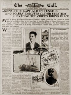 Article describing Aguilnado's capture from the Americans. Emilio Aguinaldo, Philippine Army, Treaty Of Paris, The Spanish American War, Philippines Culture, Filipino Culture, Filipiniana, Cultural Studies, Prisoners Of War