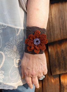Crochet Cuff Bracelet Crochet Flower Boho by raspberrypotpourri