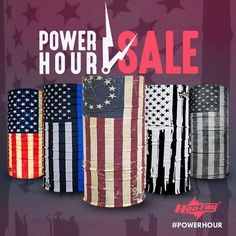#PowerHour time!! For the next hour - ALL American Flag Hoo-rags are on sale for only $10.95 each! Thin Blue Line Old Glory The Revolution and more! Click the link in our bio to shop this sale - it's all over at 2:15pm EST. #USA #Hoorag #RocktheRag