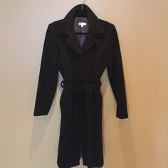 Helena Coat Chocolate brown classic wool coat. Self covered buttons and tie Helena Jackets & Coats