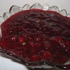Use cranberry juice instead of water , omit sherry!Cranberry Sauce with Jalapeno Peppers - Allrecipes.com Leave out sherry and add cranberry juice instead of water!