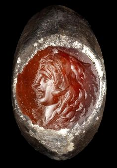 Hellenistic Silver and Carnelian Intaglio Ring depicting Alexander the Great, Circa 2nd-1st Century BC