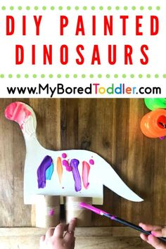 With the kid's home on school holidays, Man Child included, we seem to have gathered quite a collection of toilet rolls. Teamed up with an old cardboard cereal box, we transformed our once boring toilet paper rolls into two bright and colorful DIY Painted Dinosaurs!  #myboredtoddler #crafts #toddlers #activities #indooractivities! Indoor Activities For Toddlers, Dinosaur Activities, Dinosaur Crafts, Easy Toddler Crafts, Toddler Art Projects, Toddler Fun, Fun Crafts, Crafts For Kids, Crafts Toddlers