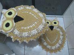 jogo de banheiro em formato de coruja de croch 18664 mlb20158267003