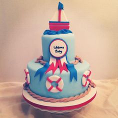 nautical baby shower ideas | cakes by becky nautical baby shower cake nautical baby shower sheet ...