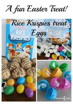These are so good and so fun! Kids love that there are two surprises! Eat the Rice Krispie treat and find an egg. Then, a small treat like a Hershey Kiss. Easy and fun, using pantry ingredients! Easter Snacks, Easter Treats, Rice Crispy Treats, Krispie Treats, 5 Ingredient Recipes, Easter Activities, Diy Cake, Rice Krispies, Sweet Recipes