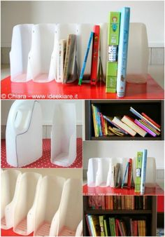 25 Fun And Creative Ways To Upcycle Empty Laundry Detergent Bottles - Collection curated and created by diyncrafts team. Detergent Bottle Crafts, Water Bottle Crafts, Plastic Bottle Crafts, Empty Plastic Bottles, Glass Bottles, Diy Books Organizer, Book Organization, Laundry Soap Container, Classe D'art
