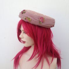 Vintage 1950's G Howard Hodge Mauve Straw & Tulle Fascinator Tilt Hat With Velvet Pansy Applique, Retro Spring Summer Designer Hat by VintageDoylestown on Etsy