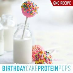 Birthday Cake Protein Pops Using GNC Pro Performance Amplified Wheybolic Extreme 60TM Original