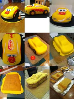 Step by step fun car birthday cake. Car Birthday, Disney Cars, Cake Tutorial, Homemade Cakes, Party Themes, Cake Decorating, Projects To Try, Cupcakes, Tutorials