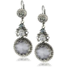 "Sorrelli ""Pewter"" Crystal Vintage Style Dangle Silver-Tone Earrings (86 CAD) ❤ liked on Polyvore featuring jewelry, earrings, accessories, jewels, crystal jewelry, earrings jewelry, crystal jewellery, silver tone earrings and crystal earrings"