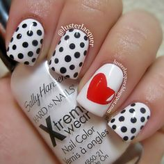 Polka dots and heart nail design