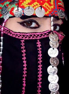 Traditional Arabic Tribal style. Black eyeliner called Kajal is very important for the Arabic look.