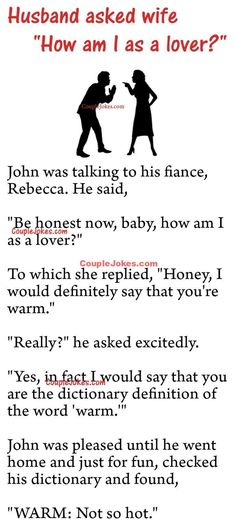"John asked his fiance, Rebecca ""How am I as a lover? Funny Marriage Jokes, Funny Relationship Jokes, Latest Funny Jokes, Everything Funny, True Love, Funny Stuff, Lovers, Messages, Couple"