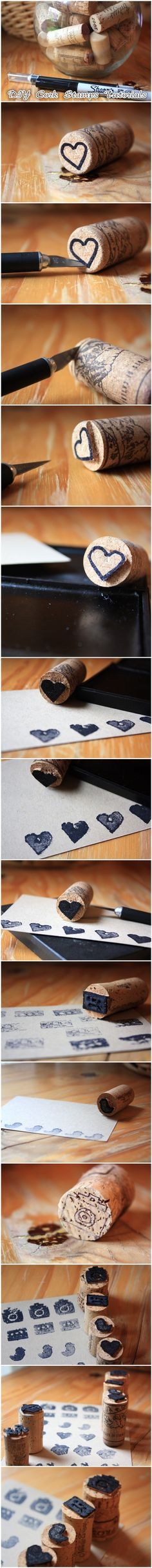 #DIY Cork Stamp #Tutorials I wish I was crafty!