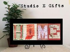 INDIANA HOME SIGNborn raised sign  Rustic Home by StudioEGifts