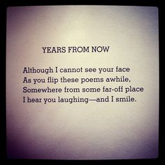 "Shel Silverstein. This makes me think of my dad when he dedicated ""Where The Sidewalk Ends"" to me at the Cotton Belt library in 5th grade :) And he had the BEST laugh in the world."