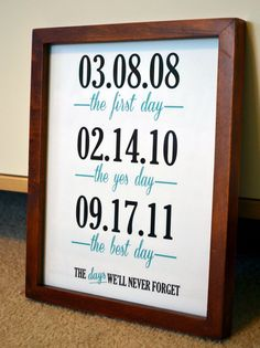Wedding anniversary 8x10 important date print- Days we'll never forget- gift for wife- Customizable wedding sign- best day ever. $10.00, via Etsy.