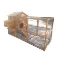 Grand poulailler bois mobile, idéal 8/10 poules, pondoir 3 nids et enclos grillagé fermé xl.