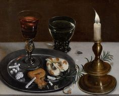 Clara Peeters, Still Life with a Venetian Glass, a Rummer and a Burning Candle on ArtStack #clara-peeters #art
