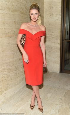 Go fiery red like Nicky in this glamorous dress by Alice and Olivia #DailyMail