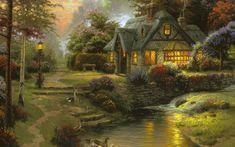 stillwater cottage, thomas kinkade, painting..
