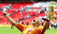 39 year-old Dean Windass celebrates Hull's promotion to the Premier League, May 24th. 2008