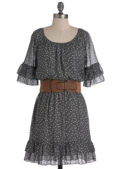 Sincerest Form of Fluttery Dress - Grey, White, Polka Dots, Ruffles, Sheath / Shift, Mid-length, 3/4 Sleeve, Belted