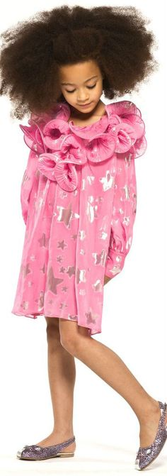 LITTLE MARC JACOBS Girls Min Me Pink Silk Jacquard Dress for Spring Summer 2018. Gorgeous pink party dress made in  luxurious silk with a shimmery silver star jacquard.  Cute layers of curled fabric around the neck! Inspired by Marc Jacob's for Women. Cute party dress for little princess at special occasion. Shop at Childrensalon (affiliate)  #marcjacobs #kidsfashion #fashionkids #girlsdresses #childrensclothing #girlsclothes #girlsclothing #girlsfashion #cute  #minime #mommyandme