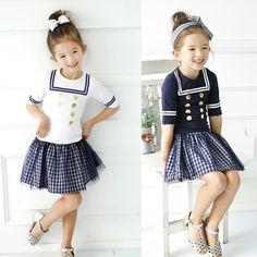 >> Click to Buy << 2017 Summer New Children Baby Girls Clothing Set Kids Sailor Collar Shirt+ Plaid Skirt School Uniform Preppy Clothes Suits #Affiliate