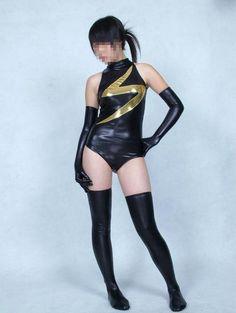 Black Ms. Marvel Shiny Metallic Superhero Costume Halloween Cosplay Party Zentai Suit, $32.99 | DHgate.com