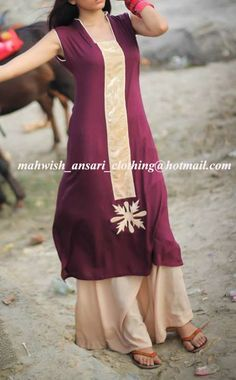 plum colour malai lawn shirt with fawn satan patti at the front & motif ,comes with fawn malai lawn palazzo.to order this dress email us at the given address on the image or join our facebook page