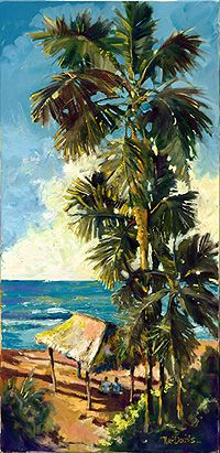 Norm Daniels | COTW Surf Artist- nice loose brush strokes, love the palms