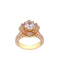 Cubic Zirconia & Gold Ornate Flower Ring
