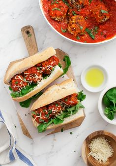 Vegetarian Mushroom Meatball Subs #vegan (sub vegan parm) | Love and Lemons