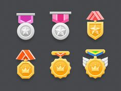 Medal Icons 02 designed by rezzzzzz. Connect with them on Dribbble; Design Ios, Flat Design Icons, Game Ui Design, Icon Design, Illustration Software, Flat Illustration, Illustrations, Design Thinking, Motion Design