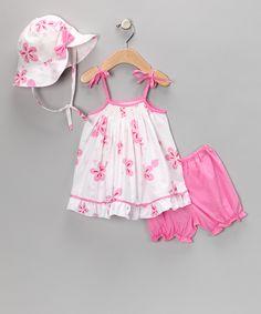 Pink Floral Smocked Tie Dress Set - Infant $26.99