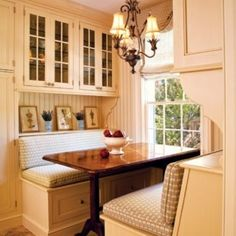 Create a storage hutch look right into the dining bench walls.