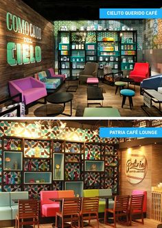 Bistro tables in lunch area Concept Restaurant, Cafe Restaurant, Café Bar, Mexican Restaurant Design, Café Design, Deco Cafe, Game Cafe, Design Commercial, Cafe Concept