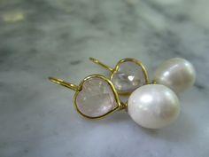 Vergoldete Ohrringe - Ohrringe Amethyst Herz Cabochon Rose Love Hochzeit - ein Designerstück von TOMKJustbe bei DaWanda