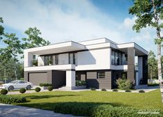Two storey house in modern style with usable area Minimum size of a plot needed for building a house is m. Single Storey House Plans, Two Storey House, Modern House Facades, Modern House Design, Home Catalogue, Facade House, Design Case, Types Of Houses, My Dream Home