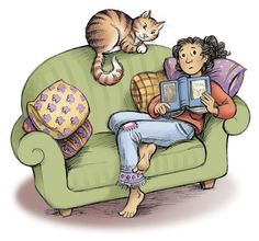 There's nothing better than getting cosy and reading a book! #illustration by KE Lewis http://ow.ly/NhqxI