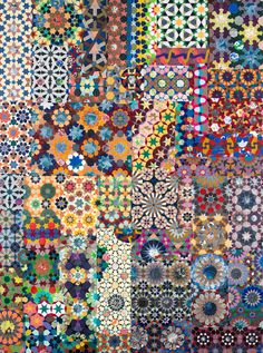 "Contradictory Patterns and Decorative Illusions  Joyce Kozloff, ""If I were an Astronomer (Mediterranean)"" (2014), mixed media on canvas, 72 x 54 inches (courtesy DC Moore Gallery)"