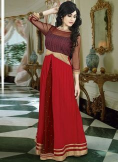 Fashionable red faux georgette and net long gown which is decked with a stone work all voer and lace work on the border. This readymade gown has maximum bust size of 36 to 42 inches. Indian Wedding Outfits, Indian Outfits, Wedding Wear, Wedding Gowns, Indowestern Gowns, Different Shades Of Red, Gown Suit, Gowns For Girls, Red Gowns